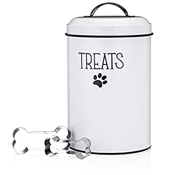 JRW Design White Dog and Cat Treat Container Plus 2 Bone-Shaped Cookie Cutters - Farmhouse Dog Treat Holder Jar - Durable Dog Biscuit Tin Canister Great Gift for Pet Owners - Stylish Dog Treat Jar