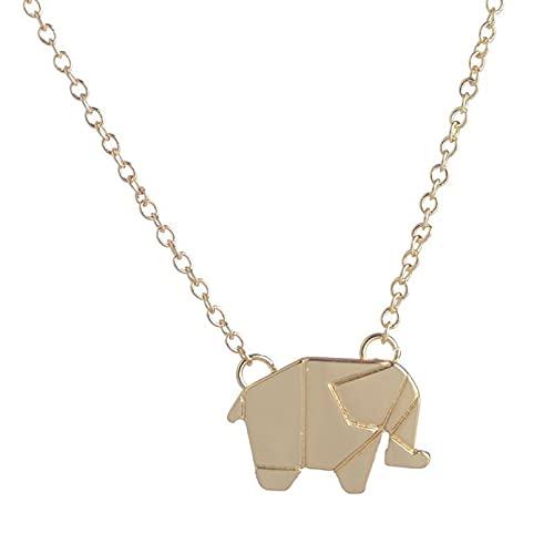 N/A Collar Colgante de Regalo de joyería Origami Animal Lucky Elephant Collar Colgante Collares Joyería Regalo Collar con Dije de Elefante para niñas y Mujeres