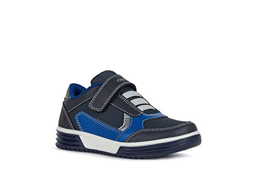 Geox Niños Zapatillas ARGONAT Boy,Chico Bajo,Zapato bajo,Calzado Deportivo,Cierre de Velcro,Removable Insole,Navy/Royal,32 EU/13 UK Child