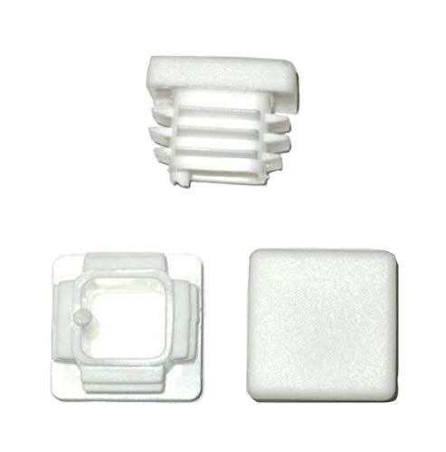 Lot de 10 bouchons à lamelles carrés - 25 x 25 mm - Blancs