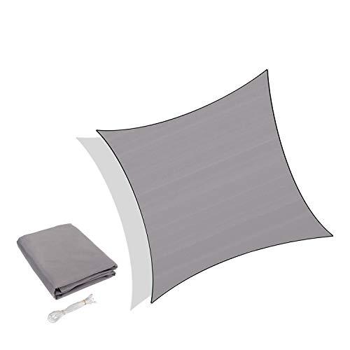 Sunnylaxx Wasserdicht Sonnensegel Sonnenschutz Garten - Quadrat 3x3m, UV-Schutz wetterbeständig Segel, Grau