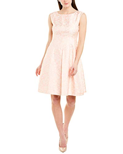 Anne Klein Women's Jacquard Inverted Pleat FIT and Flare Dress, Cherry Blossom/White, 4
