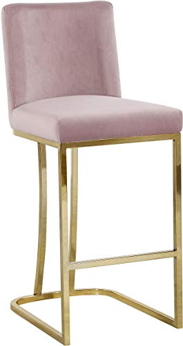 Meridian Furniture 777Pink-C Heidi Collection Modern | Contemporary Velvet Upholstered Counter Stool with Polished Gold Metal Legs, 16' W x 19.5' D x 36.5' H, Pink