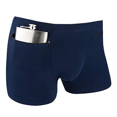 H&R Herren Boxershorts Geheime versteckte Tasche Reiseunterwäsche mit Geheimfach Front Stash Pocket Panties 2 Packs (Blau) - Blau - Large