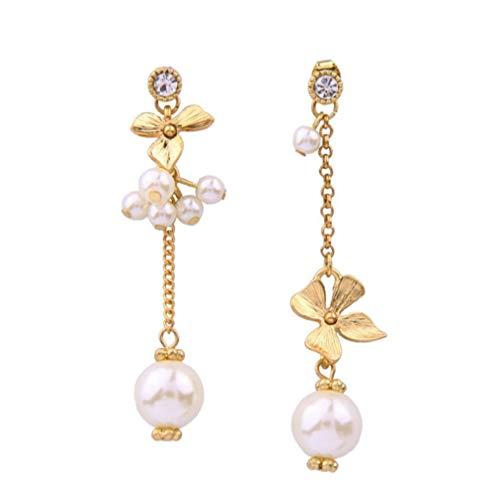 Yhhzw Pendientes De Perlas Asimétricos Regalos De Niña Joker Pendientes De Cristal De Hoja De Metal Para Mujer Accesorios Joyería