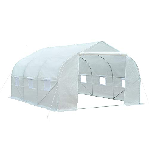 Outsunny 11.5' x 10' x 7' Outdoor Portable Walk-in Tunnel Greenhouse with Roll-up Windows & Zippered...