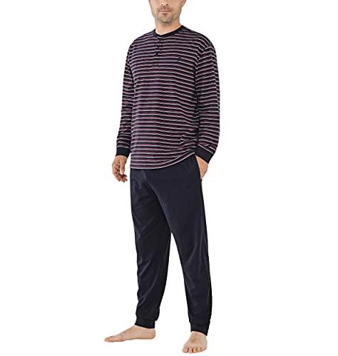 El Búho Nocturno - Pijama Hombre Largo Tapeta Punto Rayas Marino 100% algodón Talla 9 (5XL)