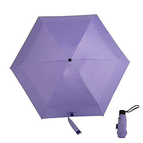 xinrongqu Neue Fünf Falten Taschenschirm Tasche Schwarz Kunststoff Sonnenschirm Tragbare Sonnenschirm Regenschirm Lila 48,5X6 Karat