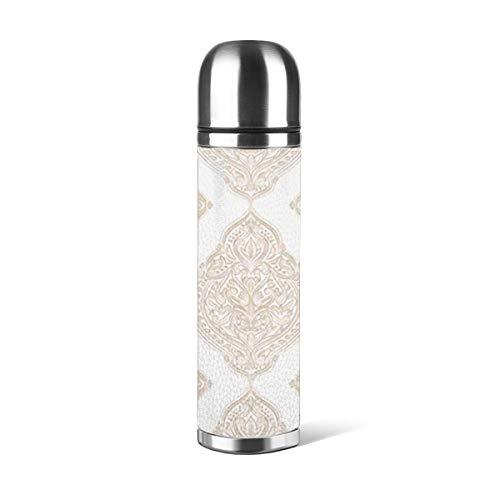 Botella de agua de acero inoxidable con diseño de abanico artístico, color dorado y blanco ornamental, con aislamiento al vacío, de piel a prueba de fugas, contenedor de viaje de doble pared, termo de 500 ml