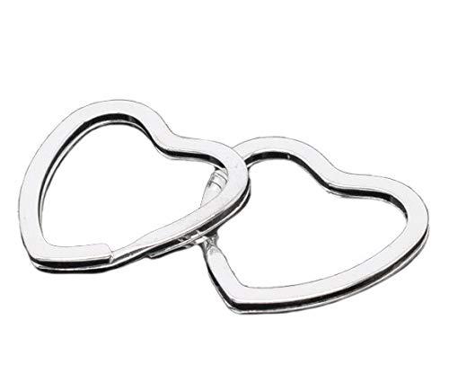 Sadingo metalen sleutelringen verzilverd, hartjes zilver, 10 stuks, 3,1 x 3,1 cm, sleutelhanger knutselen, metalen ringen