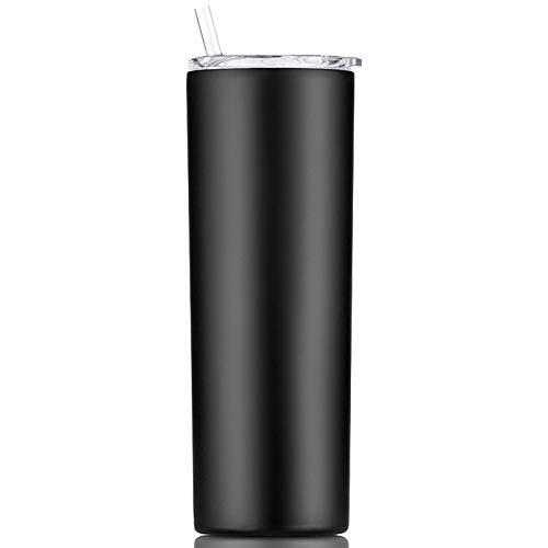 Gteller - Bicchiere sottile sottile a doppia parete in acciaio INOX 18/8, con cannuccia e coperchio, isolato da viaggio, per mantenere le bevande fredde e calde (nero, 567 oz)