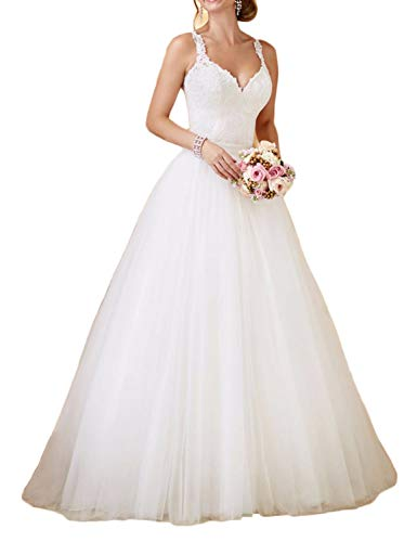 RYANTH Women's Lace Wedding Maxi Tulle Skirts V Neck Wedding Dress for Bride with Detachable Train RWD46 Ivory 16