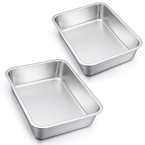 Homikit Auflaufform Set, Edelstahl Rechteckig Kuchenform Backform Tiramisu Form 2er Set, Ofenform Groß 32,5 x 25,5 x 8 cm, Perfekt für Lasagne/Mäser/Brownie, Hitzebeständig & spülmaschinengeeignet