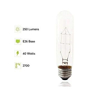 Pack Of 6 40 Watt T10 Clear Tubular Incandescent Medium (E26) Base 120-Volt Light Bulb