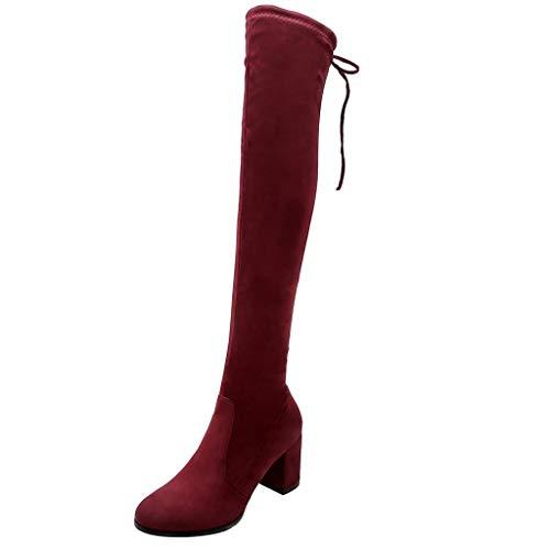Damen Winter Stiefel 2019 Frauen zurück Lace-Up Knie nackte Stiefel Square Heel High Casual Long Tube Booties Wild Ausgehen Basic Warm Wadenlänge Knielänge Stiefel(Weinrot,36)