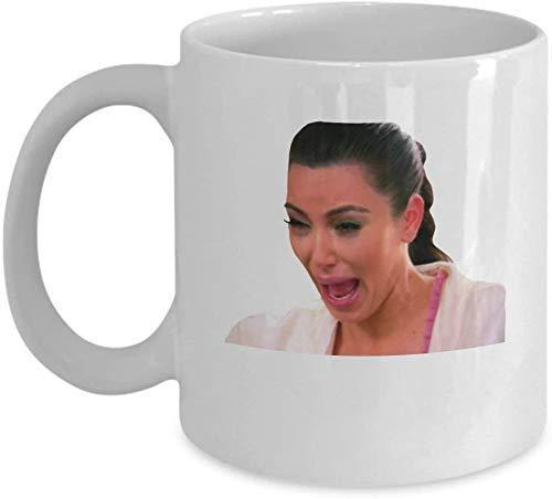 Kim Kardashian Crying Meme Coffee Mug Cup (White) 11oz Funny Kim K Keeping Up with The Kardashians KUWTK Gift Merchandise Accessories Decal Sticker Sh