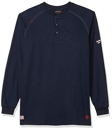 Ariat Men's Big and Tall Flame Resistant Work Henley, Navy,...