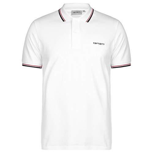 Carhartt Script Embroidery Poloshirt Piquet mit kontrastierenden Rändern, Weiß Large