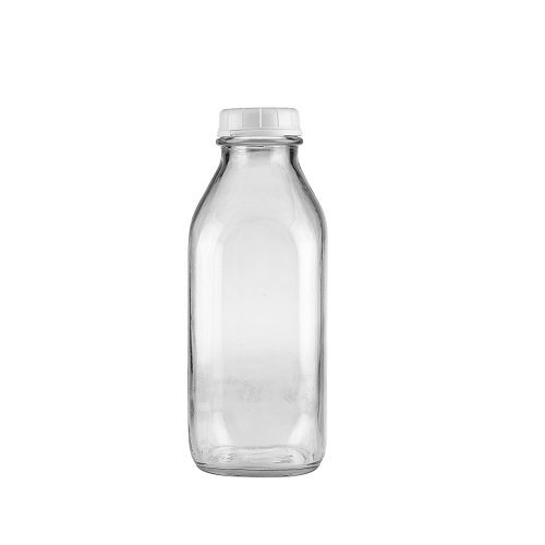 The Dairy Shoppe Heavy Glass Milk Bottles 33.8 Oz Jugs with Extra Lids (1, 33.8 oz)