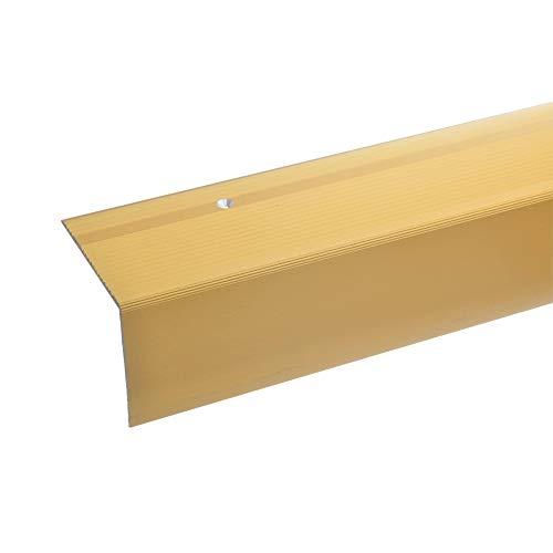 acerto 38024 Perfil angular de escalera de aluminio - 100cm 55x69mm dorado * Antideslizante * Robusto * De fácil instalación | Perfil de borde de escalera perfil de peldaño de escalera