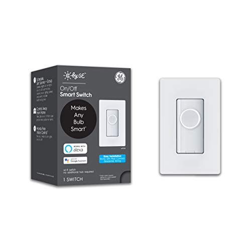 C by GE 3-Wire On/Off Button Style Smart Switch, Alexa and Google Home Compatible Without Hub, Smart Switch No Neutral Required, Single-Pole/3-Way Switch Replacement White, 1-Pack