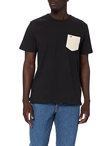 Tommy Jeans Tjm Contrast Pocket Tee T-Shirt, Nero, M Uomo