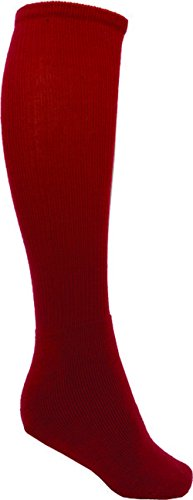 VIZARI League Soccer Tube Socks for Sport, Red, Peewee - Compression Tube Field Hockey Socks with Ergonomic Cushioning and Support - Soccer Socks, Perfect For Football, Baseball, Rugby.