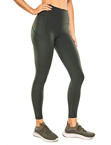 """CRZ YOGA Women's Naked Feeling High Waisted Yoga Pants with Pockets Workout Leggings Camo - 25 Inches Olive Green 25"""" Medium"""