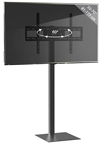VCM TV-Standfuß LED Ständer Fernseh Standfuss Alu Glas Universal Zanta Universell VESA Schwarzglas