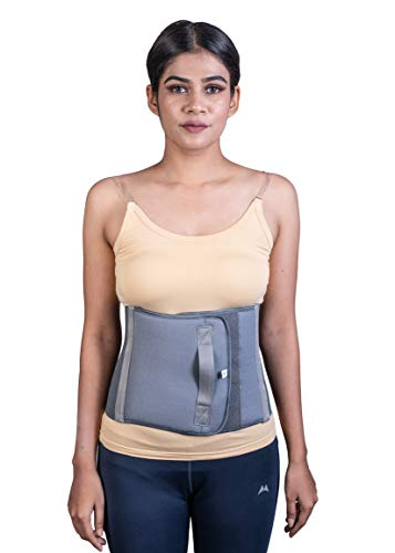 Wonder Care Abdominal Belt after delivery Tummy Reduction Trimmer Belly Binder for Women & Men Abdomen Compression Support Grey Hook and Loop closure (Large)