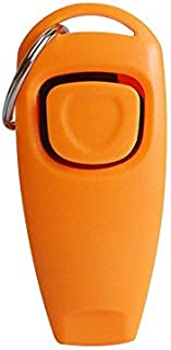 Dog Training Clickers 2 in 1 Whistle and Clicker Pet Training Tools for Dogs Cats Birds Horses Reptiles (Orange)