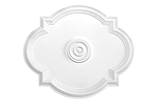 HEXIM Perfect Stuckrosette - Deckenrosette aus PU hartschaum, robust, Zierelement (B3073-610 x 520 mm) Kronleuchter Umrandung Medaillon Innendekor