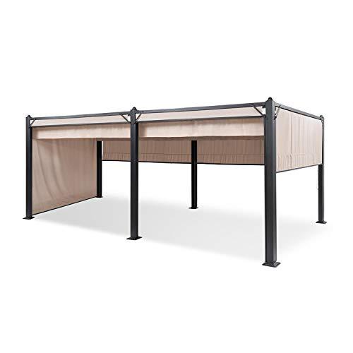 blumfeldt Panthéon Pavillon Cortina - Tubes Aluminium, poteaux d'angle 10x10 cm, 4 côtés, Toit avec revêtement Hydrofuge, INOX - Surface Couverte : 3x6 m, Beige