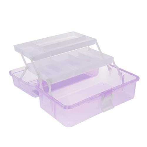 P Prettyia Caja de Almacenamiento de Tres Capas Nail Art Accesorios de Arte de Uñas Caja de Surtido - Púrpura, 315x170x145mm