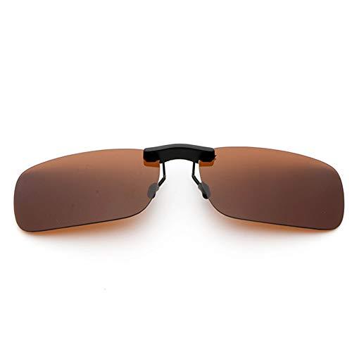 新型 メガネの上からつけられる クリップオン サングラス 偏光レンズ UV400 夜間運転 偏光スポーツサングラス 付きサングラス 跳ね上げ 偏光クリップ眼鏡 紫外線カット 前掛けクリップ式サングラス 収納ケース付き 超軽量 WangToall (ブラウン