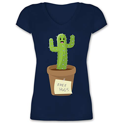 Statement - Free Hugs Kaktus - L - Dunkelblau - Free hugs Tshirt Damen - XO1525 - Damen T-Shirt mit V-Ausschnitt
