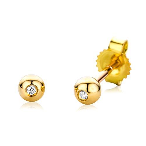 Miore Ohrringe Damen Ohrstecker Weißgold 18 Karat / 750 Gold Solitär Diamant Brillianten 0.01 ct