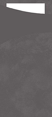 Duni Sacchetto Serviettentasche Uni granitgrau , 8,5 x 19 cm, Tissue Serviette 2lagig weiß, 100 Stück