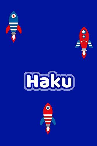 Haku: Personalisiertes Vornamen Notizbuch / Tagebuch - 120 Seiten - Punkteraster - Format 6x9 ca. DIN A5