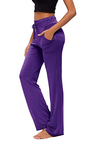 Pantalones De Yoga para Mujer con Bolsillos Cordón De Pierna Ancha Salón...