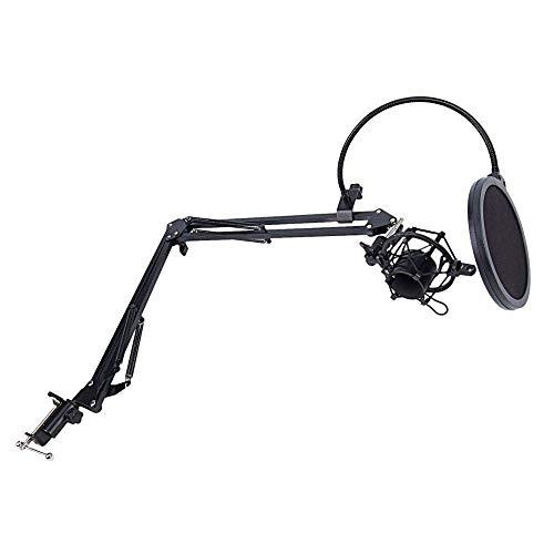 Micrófono NB-35 Soporte de la Caja del Brazo de la Tijera y la Mesa de Montaje en la Mesa y el Kit de Montaje de Parabrisas y de Montaje de Metal (Color: Negro) SLONGS (Color : Black)