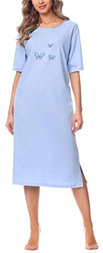 Merry Style Damen Kurzarm Nachthemd 91LW1 (Blau (Kurzarm), 44 (Herstellergröße: XXL))