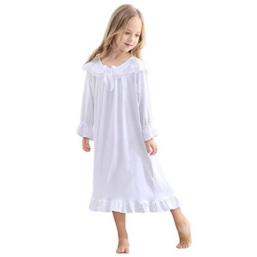 Gagacity Vintage Nachthemd Weiß für Kinder Mädchen Elegant Full Length 85-150CM