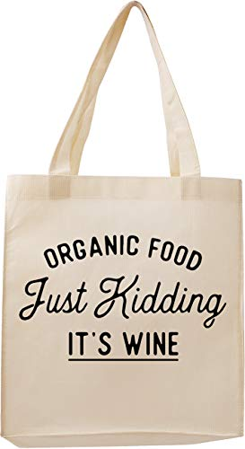 """Reusable Grocery Shopping Tote Bags with Handles – """"Organic Food"""" Funny Reusable Tote Bags or Gifts for Vegans, Women, Quote, Sayings, Large Washable Designer Totes and Cotton"""