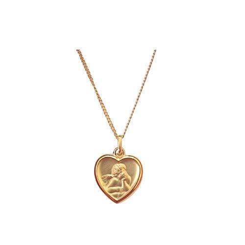 GF 750* - Cadena y colgante de medalla con forma de ángel de bautizo, oro amarillo