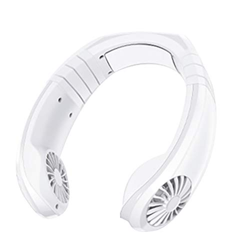 Summer Earphone Handheld Mini Portable USB Neck Mounted Air Conditioner Cooler Fan with Rechargeable Battery,White