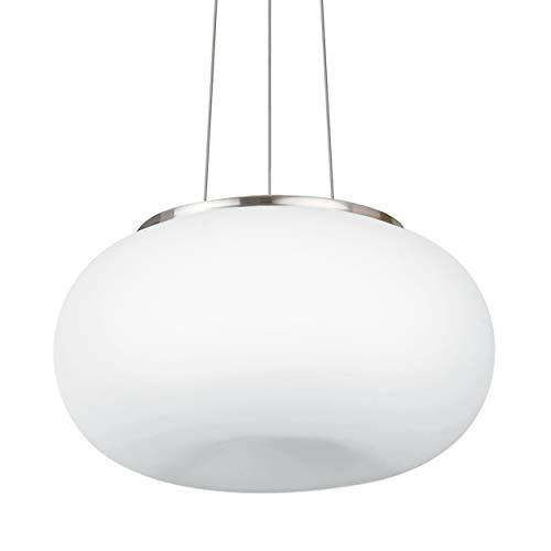 EGLO Pendellampe Optica, 2 flammige Pendelleuchte, Hängeleuchte aus Stahl, Farbe: Nickel matt, Glas: Opal matt weiß, Fassung: E27, Ø: 35 cm