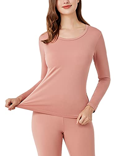 LAPASA Camiseta Térmica para Mujer Ropa Térmica Camiseta Interior Manga Larga Invierno Ligero L15 L Rosa