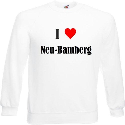 Reifen-Markt Sudadera I Love Bamberg para mujer, hombre y niños en los colores negro, blanco y azul, con estampado Blanco XL
