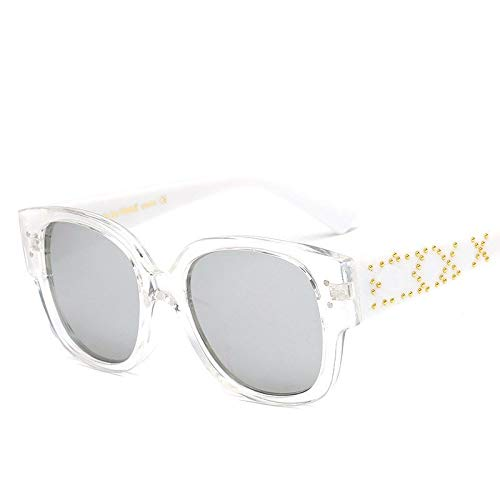 Gafas de Sol Gafas De Sol con Protección UV Remaches De Montura Grande Gafas De Sol De Moda Gafas De Sol Redondas protección para los Ojos (Color : D)
